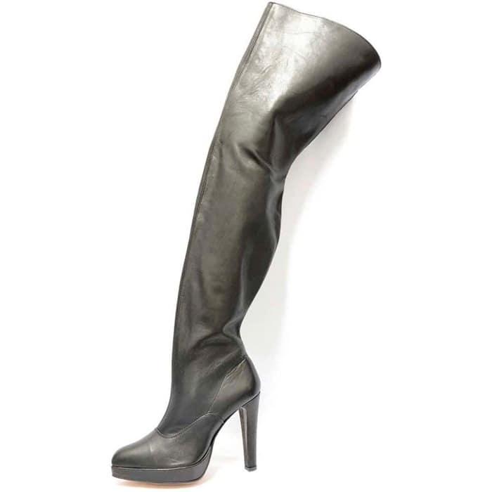 bottes femme grande taille du 38 au 48, cuir lisse noir, talon de  9 cm et plus, à patins sexy bottes mollets larges fantaisie, toutes saisons
