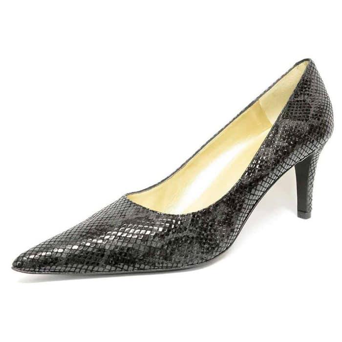 escarpins femme grande taille du 38 au 48, python noir, talon de 7 à 8 cm, bout pointu escarpin talon haut, toutes saisons