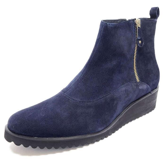 bottines femme grande taille du 38 au 48, velours bleu, talon de 3 à 4 cm, tendance detente talons compensés, hiver