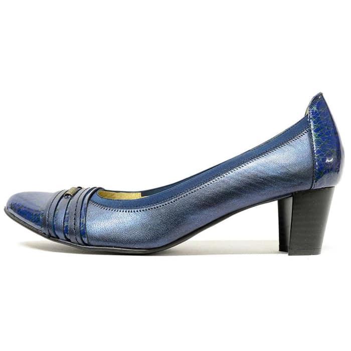 trotteurs femme grande taille du 38 au 48, cuir lisse bleu, talon de 5 à 6 cm, souples detente, printemps