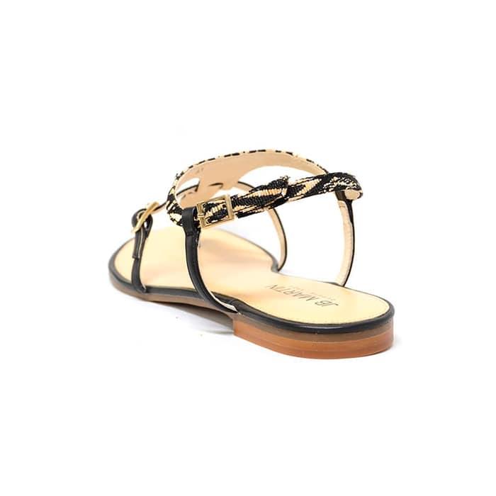 entre-doigts femme grande taille du 38 au 48, cuir lisse multicolore noir, talon de 0,5 à 2 cm, mode sandales plates, chaussures pour l'été