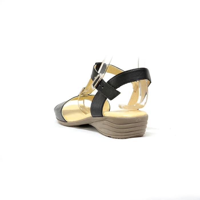 sandales femme grande taille du 38 au 48, cuir lisse noir, talon de 3 à 4 cm, confort detente, chaussures pour l'été